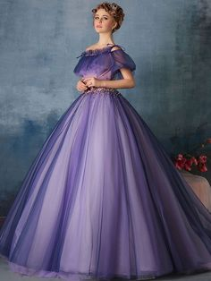 dress rayon on sale at reasonable prices, buy purple flower beading waist ruffle Medieval Renaissance gown Sissi princess dress Victorian dress/Marie/ Belle Ball from mobile site on Aliexpress Now! A Line Prom Dresses, Ball Gowns Prom, Ball Gown Dresses, Formal Evening Dresses, Evening Gowns, Pageant Dresses, 15 Dresses, Formal Prom, Dress Prom