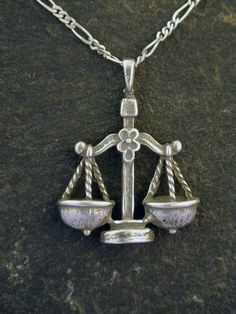 Sterling Silver Libra Astrology Pendant on a by peteconder on Etsy