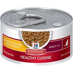 Hill's Science Diet Adult Healthy Cuisine Wet Cat Food, Roasted Chicken & Rice Medley Canned…Hill's Science Diet Adult Healthy Cuisine Poached Salmon & Spinach Medley soft cat food Roast Chicken And Rice, Chicken Livers, Chicken Rice, Roasted Chicken, Hills Science Diet, Cat Diet, Poached Salmon, Kitten Food, Seared Tuna