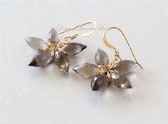 Gemstone Flower Earrings Smokey Quartz Faceted by LemonDreamHouse, $46.00