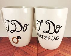I Do What She Says Coffee Mugs Unique Wedding Gifts For Couples Couples Mugs Handpainted Mugs Engagement Gift Funny Mugs Unique Wedding Gifts, Wedding Gifts For Couples, Gifts For Wedding Party, Unique Weddings, Wedding Mugs, Wedding Ideas, Funny Engagement Gifts, Wedding Engagement, Engagement Presents