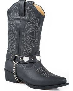 Dress your little girl up in adorable cowgirl boots with these Dale Faux Leather Western Boots by Roper. Pink Cowgirl Boots, Kids Western Boots, Steel Toe Work Shoes, Chukka Shoes, Roper Boots, Cool Boots, Fashion Boots, Black Boots, Youth