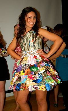 Recycled cardboard, newspaper, and grocery bags dress. Trashion Show Ideas