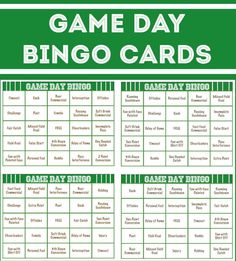 Free printable football bingo cards, perfect for playing a little Super Bowl bingo for your Super Bowl party games!