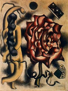 """La femme à la rose"" (1930, ""The Woman of the Rose""), by Fernand Léger.  Art Experience NYC  www.artexperiencenyc.com/social_login/?utm_source=pinterest_medium=pins_content=pinterest_pins_campaign=pinterest_initial"