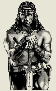 Stippling Art / Pontilhismo - Conan The Destroyer - Ilustração para poster em serigrafia.