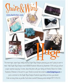 Giveaway!! @ daylin skye designs (handmade, one-of-a-kind handbags)