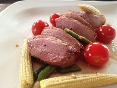 Duck breast smoked with green tea, cinnamon and star anise, with beans fresh from the garden, baby corn and cherry tomatoes