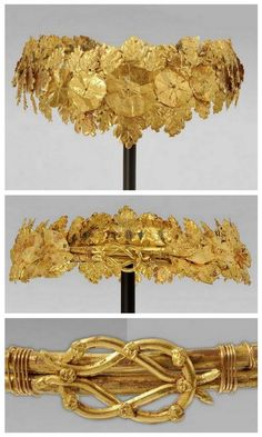 Hellenistic Gold Oak Wreath, c. Century BC A Greek Hellenistic diadem wreath comprising numerous projecting sprays of sheet-gold oak leaves in two sizes with serrated edges and veins, a large. Royal Crowns, Royal Jewels, Tiaras And Crowns, Crown Jewels, Ancient Jewelry, Antique Jewelry, Vintage Jewelry, Viking Jewelry, Objets Antiques