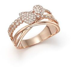 Diamond Crossover Ring in 14K Rose Gold, .45 ct. t.w.