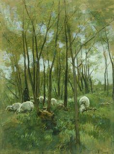Schapenkudde in een bos, Anton Mauve, 1848 - 1888