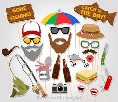 Fishing Trip Printable Photo Booth Props by RainbowMonkeyArt