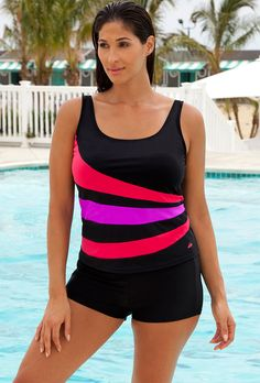 0b755a427ce89 Chlorine Resistant! Aquabelle Red and Orchid with shorts! This summer  trend! Plus Swimwear