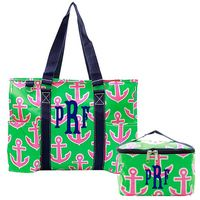 Monogrammed BEACH TOTE Set - Large Tote/Weekender & Cosmetic Bag - Preppy Anchor - Hot Pink/Lime/Navy - FREE SHIP