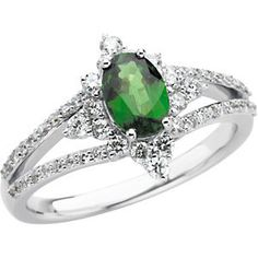 Genuine Tsavorite Garnet & Diamond Ring | Stuller.com