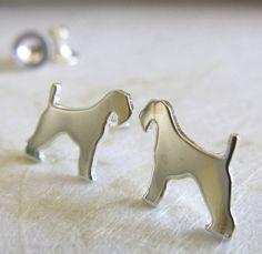 Airedale Terrier Dog Stud Earrings