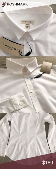 Cotton business shirt Burberry long sleeve cotton business shirt. Authentic. White button down, size US4 / UK6, Brand new, Made in Romania Burberry Tops Button Down Shirts