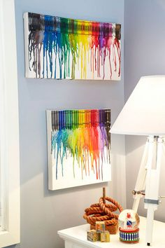 How to make a rainbow crayon artwork: Be somewhere over the rainbow every day with this melted crayon piece. It'll look ace in the kids' room – and they can help you make it, too! For a more dramatic look, paint the canvas with black acrylic beforehand.