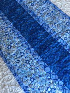 Hanukkah Judaica Table Runner Quilt, Blue, Contemporary, Modern Channukah, Passover by KeriQuilts on Etsy