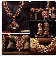 Beautiful traditional gold jewellery #polki #temple jewellery #navratna #pearls #gold #antique #jhumka