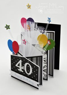❤Now, I just have to say that if I received THIS card for a 40th BIRTHDAY, the maker/presenter of this card would get an EXTREME HUG because he or she just made my day. ❤ Tri-fold 40th Birthday Card