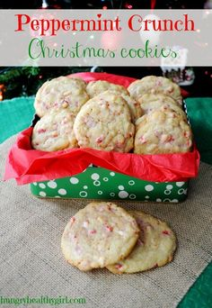 peppermint crunch christmas cookies   Hungry Healthy Girl