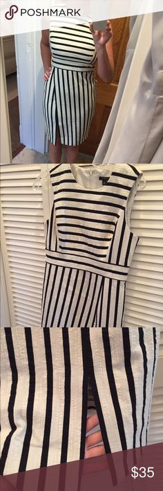 🔥🔥🔥 Price Drop, Today Only!  MAILING TODAY!!!! 🔥🔥🔥 Price Drop, Today Only!  MAILING TODAY AT 4:00 CENTRAL!!!   NWOT Ann Taylor Black and Cream striped dress.  Never been worn. Ann Taylor Dresses