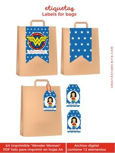 Wonder Woman printable kit (wonder woman) Pack for birthday parties, baby shower, first year, party kit Diy Party Decorations, Party Themes, Anniversaire Wonder Woman, Birthday Celebration, Birthday Parties, Wonder Woman Party, Gender Neutral Baby Shower, Party Kit, Ideas