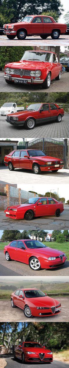 Alfa Romeo Giulia family tree / 1954 Giulietta / 1962 Giulia / 1977Giulietta / 1985 75 / 1992 155 / 1996 156 / 2004 159 / 2016 Giulia / Italy / red