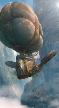 """Post-Apocalypse Now"": Superb Concept Art By Sergey Vasnev Steampunk Artwork, Steampunk Airship, Dieselpunk, Zeppelin, Cyberpunk, Estilo Tim Burton, Mortal Engines, Flying Ship, Colossal Art"