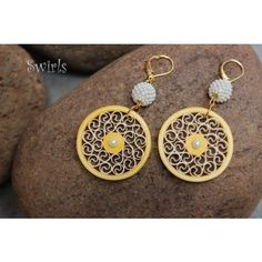 Yellow & Off white Quilled Earrings