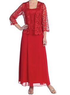 Onlinedress Womens Mother of the Bride Long Formal Lace Dress with Jacket US26 Red -- Want additional info? Click on the image.
