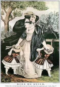 littlepennydreadful:  Currier & Ives, Kiss Me Quick, c.1840 Hand Colored Lithograph