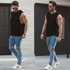 Choose a black tank and blue destroyed skinny jeans for a laid-back yet fashion-forward outfit. Dress up your getup with white low top sneakers. Shop this look on Lookastic: https://lookastic.com/men/looks/tank-skinny-jeans-low-top-sneakers-sunglasses-watch/12303 — Dark Brown Sunglasses — Black Tank — Silver Watch — Blue Ripped Skinny Jeans — White Low Top Sneakers