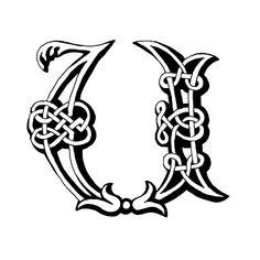 Celtic letter U vector art illustration