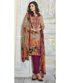 e524ceb5ef Wonderful Beige And Purple Silk Salwar Suit. Designer Salwar Suits