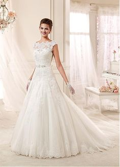 Elegant Tulle Bateau Neckline A-line Wedding Dresses With Beaded Lace Appliques