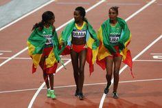 News Photo: Gold medalist Tirunesh Dibaba of Ethiopia celebrates with…