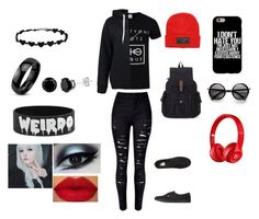 Untitled #53 by keannalovesandyblack on Polyvore featuring polyvore fashion style Boohoo Beats by Dr. Dre Vans West Coast Jewelry clothing