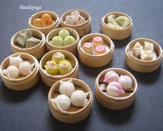 Dollhouse Miniature Food Chinese Dim Sum in bamboo by BEADSPAGE, $5.50