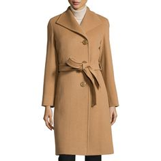 Cinzia Rocca Belted Wool-Blend Long Coat ($413) ❤ liked on Polyvore featuring outerwear, coats, camel, asymmetrical wool blend coat, longline coat, long sleeve coat, belted camel coat and belted coat