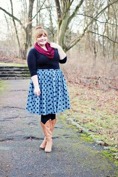 kathastrophal.de | Plus Size Outfit, wearing the dotted denim Saturday Sojourn Skirt by ModCloth