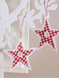 Hanging Gingham Stars | AllFreeChristmasCrafts.com