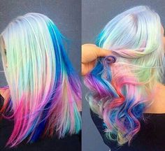 Image in hair collection by on We Heart It Ombré Hair, Dye My Hair, Pelo Multicolor, Pretty Hair Color, Bright Hair, Colorful Hair, Rainbow Hair Colors, Pastel Rainbow Hair, White Rainbow