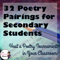 Comparing poems fosters critical thinking and deep discussions. Because of their short form, using poetry pairings is a great way to expose students to a variety of writers and writing styles, subjects and themes. Here's 32 pairs of poems, a total of 64 poems, to share with your students throughout the year, during National Poetry Month or to run a March Madness Poetry Tournament in your classroom.