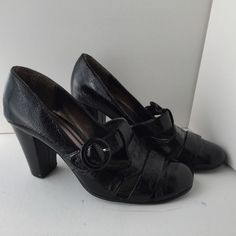 Kenneth Cole Unlisted Black VEGAN SHOES WOMEN Size 8.5 Buckle Strap Heels Pumps #UnlistedbyKennethCole #PumpsClassics #CasualFormal