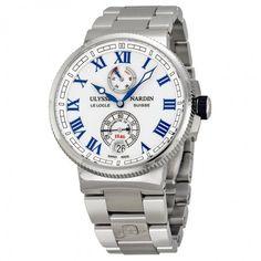 Ulysse Nardin Marine Chronometer Black Alligator Leather Men's Watch 1183-126-61 - Maxi Marine Chronometer - Maxi Marine - Ulysse Nardin - Shop Watches by Brand - Jomashop