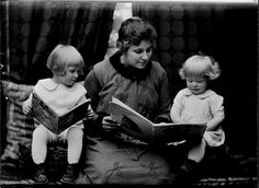 Student reading to two little girls, 1920 by Cornell University Library  #Photograph #Reading #Kids