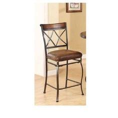 Tavio Saddle Brown Counter Height Chair Set of 2 Furniture Kitchen Seat Metal