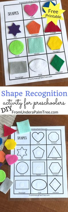 DIY shape recognition activity for preschoolers! A fun way for kids to work on shape matching. Using printed paper and felt shapes. Perfect for a busy bag. Toddler Learning Activities, Infant Activities, Preschool Activities, Kids Learning, Children Activities, Learning Shapes, Preschool Shapes, Toddler Worksheets, Learning Spanish